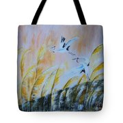 Crane On Reed Marshes Tote Bag