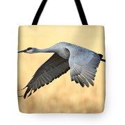 Crane Over Golden Field Tote Bag