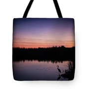Crane Under Wires At Sunset Tote Bag