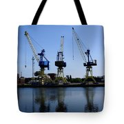 Cranes On The River Bank Tote Bag