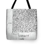 Cranmer Declaration, 1537 Tote Bag