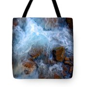 Crashing Falls On Rocks Below Tote Bag