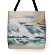 Crashing On The Rocks Tote Bag