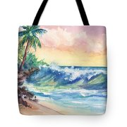 Crashing Waves At Sunrise Tote Bag