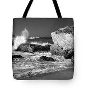 Crashing Waves Bw Tote Bag