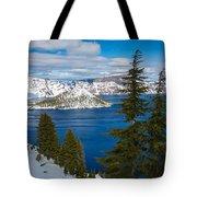 Crater Lake Winter Panorama Tote Bag