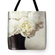 Cream Peonies In A Rustic Vase Tote Bag