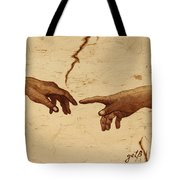 Creation Of Adam Hands A Study Coffee Painting Tote Bag