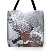 Creekside In The Snow 3 Tote Bag