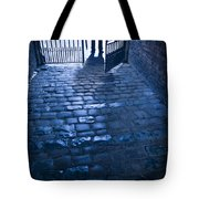 Creepy Man Standing Behind A Wrought Iron Gateway Tote Bag