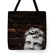 Creepy Marble Boy Garden Statue Tote Bag