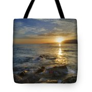 Crepuscular Rays At The Sea Tote Bag