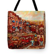 Crescent Street Family Stroll  Montreal City In Autumn City Scene Paintings Carole Spandau Tote Bag
