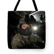 Crew Chief In A Uh-60 Black Hawk Tote Bag
