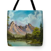 Crimson Mountains Tote Bag