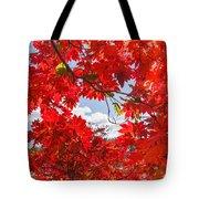 Crimson Red Leaves Background Tote Bag