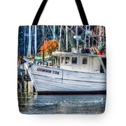 Crimson Tide In Harbor Tote Bag by Michael Thomas