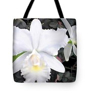 Crisp White Orchids In A Shady Garden Tote Bag