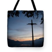 Cross On The Mountain Tote Bag