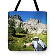Cropped Rear View Of A Female Hiker Tote Bag