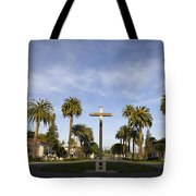 Cross And Palm Trees Mission Santa Clara Tote Bag
