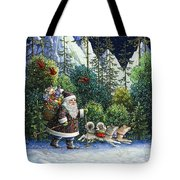 Cross-country Santa Tote Bag by Lynn Bywaters