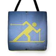 Cross Country Skiing Signboard Tote Bag