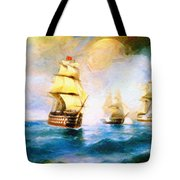 Cross Fire At The Sea Tote Bag