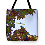 Cross Framed By Leaves Tote Bag
