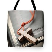 Cross On Bible Tote Bag