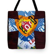 Cross With Heart Rustic License Plate Art On Dark Red Wood Tote Bag