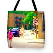 Crossing Notre Dame At Charlevoix To Dilallo Burger Montreal Summer City Scene Carole Spandau Tote Bag