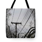 Crossing Power Lines Tote Bag