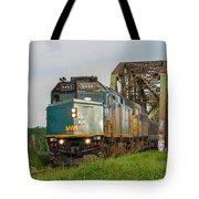 Via Train Crossing The Miramichi River Tote Bag by Steve Boyko