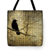 Crow In Damask Tote Bag