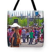 Crowd Watching Filming Of Today Show In Old Montreal-qc Tote Bag