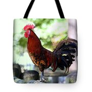 Crowing Red Junglefowl Rooster Tote Bag