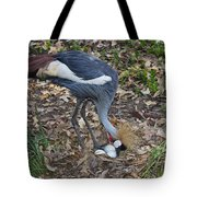 Crowned Crane And Eggs Tote Bag