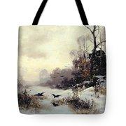 Crows In A Winter Landscape Tote Bag by Karl Kustner