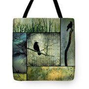 Crows In Nature Collage Tote Bag