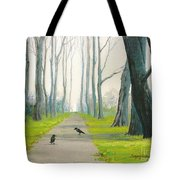 Crows On The Path Tote Bag