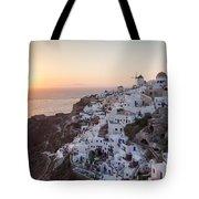 Cruise Ship At Sunset In The Mediterranean Sea Santorini Greece Tote Bag