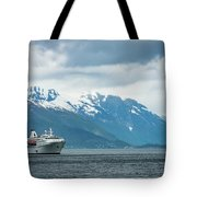 Cruise Ship In The Sognefjord In Norway Tote Bag