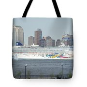Cruise Ship On The Hudson Tote Bag