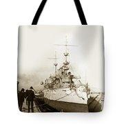 Cruiser Uss New York Going Into Dry Dock San Francisco Circa 1903 Tote Bag