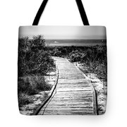 Crystal Cove Wooden Walkway In Black And White Tote Bag