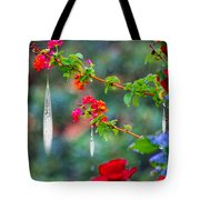 Crystals On Flowers Tote Bag