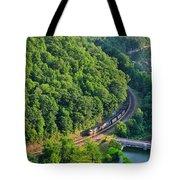 Csx Train At Hawks Nest Dam Tote Bag