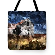 Cubist Abandoned Prairie Farm House Tote Bag