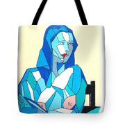 Cubistic Blue Lady Tote Bag